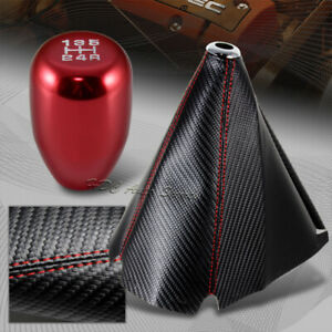 Jdm Carbon Style Red Stitch Manual Shift Boot Type R Red 5 Speed Shifter Knob