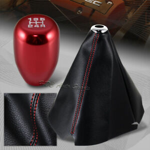 Red Stitch Leather Manual Shift Boot T R Red 5 Speed Shifter Knob Universal 4