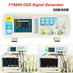 30 60mhz Fy6800 Dual ch Dds Function Waveform Signal Generator Counter 250msa s
