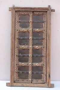Small Wooden Carving Brass Work Shekhawati Window Wall Frame Old Antique Pw 57