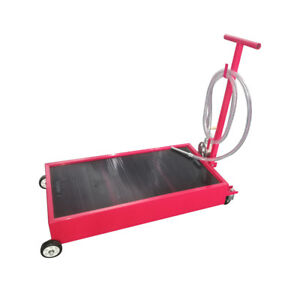20 Gallon Oil Drain Pan Low Profile Dolly W Pump 8 hose Car Truck Red Practical