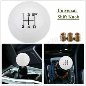Universal Car 5 Speed Round Ball Gear Shift Knob Short Shifter M10x1 5 White Us
