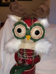 Adorable Burlap Primitive Christmas Owl Doll Shelf Sitter 20 Bells Jingle Sweet