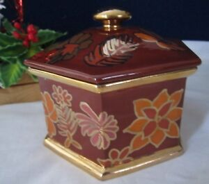 Large 1973 Art Deco Ceramic Candy Powder Jar Trinket Box Jewelry Moss Landing