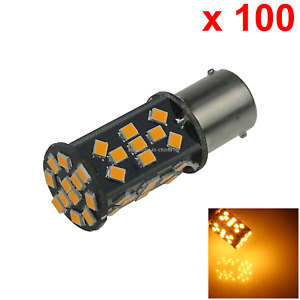 100x Yellow Auto 1156 Marker Lamp Single Light 48 2835 Smd Led 1159 67 Ba15s D09