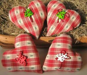 Set Of 4 Christmas Tree Plaid Heart Pillow Handmade Holiday Ornie Primitve Tuck