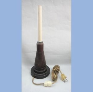 Antique Wood Spool Made Into Candle Lamp Light Pimitive Americana Sewing Weave
