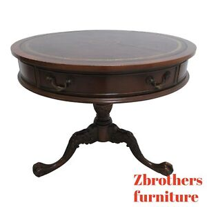 Vintage Southhampton Leather Top Ball Claw Chippendale Drum End Table Mahogany