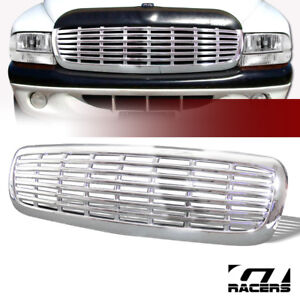 For 1997 2004 Dakota durango Chrome Horizontal Billet Front Hood Bumper Grille