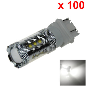 100x White Rv 3157 Brake Blub Tail Lamp 16 Emitters Cree Led 3057 3155 F012