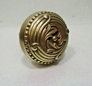 Vintage Old Antique Solid Brass Door Knob W Rare Post 2 1 4