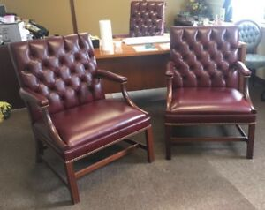 Kittinger Furniture Wf1411 Open Arm Chair Genuine Leather Newly Upholstered