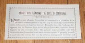 C1890 Antique Medical Booklet Suggestions Regarding The Cure Of Gonorrhea