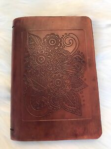 Tooled Leather Organizer Planner Notebook 3 7 X 5 Inserts New Goals Lists