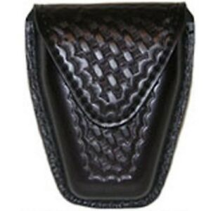 Safariland 190 4hs Black Basketweave Hidden Snap Top Flap Chain Handcuff Pouch
