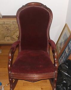 Antique Wood Velvet Rocking Chair 23 40 38 Small Chew On One Rocker Used