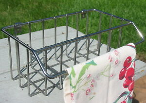 Vtg Retro Chrome Kitchen Organizer Towel Holder Metal Basket Wall Cupboard Shelf
