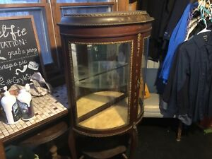 Antique Curio China Cabinet Curved Glass