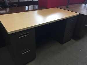 60 wx30 dx29 h Custom Desk By Herman Miller W Maple Top 2 charcoal Pedestals