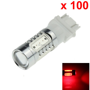 100x Red Auto 3157 Brake Lamp Reversing Light 5 Cob Smd Led 3057 3155 F007