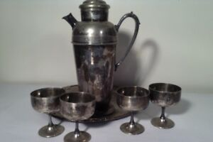 Vintage Silver Plate Coffee Tea Set Rope Design Chased Tray 6 Pieces