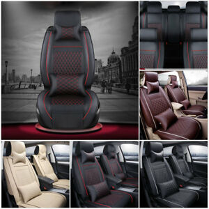 100 Pu Leather Car Seat Cover 5 Seat Suv Cushions Front Rear Set W Pillows Us