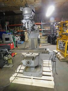 Bridgeport J head Vertical Milling Machine 9 X 42 Table 1 Hp 3 Phase Motor