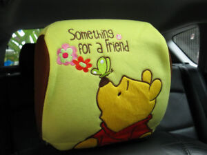Winnie The Pooh Doll Toys Car Accessories Head Rest Cover Seat Cover X 2 Pcs