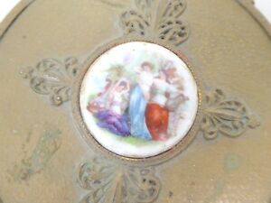Antique Victorian Brass Porcelain Hand Held Beveled Mirror Naughty Muses