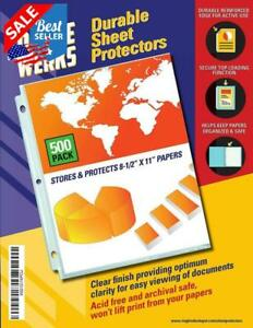 Clear Sheet Protectors 8 5 X 11 500 Pack Durable Top Load reinforced Holes
