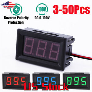 Usa Red Blue Green Led Dc 100v Voltmeter Gauge Voltage Volt Panel Meter Display