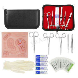 25 In 1 Laparoscopic Suture Surgical Training Practice Kit Pad Needle Scissors