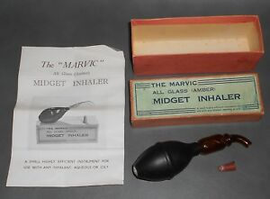 C1935 Antique Medical Tool The Marvic All Glass Amber Midget Inhaler In Box