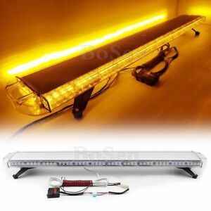 104w Amber Led 55 Warning Emergency Beacon Strobe Light Bar Auto Wrecker Truck