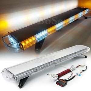 Amber White 47 Led Strobe Light Bar Warning Emergency Flash Wrecker Auto Truck