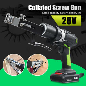 Cordless Nail Gun Electric Drill Screwdriver Collated Screw Gun 2 Li ion Battery
