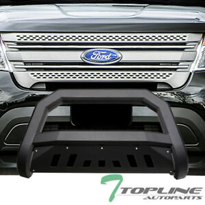 Topline For 2011 2018 Ford Explorer Avt Bull Bar Bumper Grille Guard Matte Blk