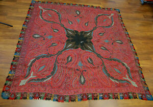 Antique 19th Century Hand Woven Kashmir Paisley Shawl Signed