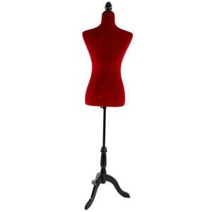 Red Female Mannequin Torso Dress Form Display W Adjustable Tripod Stand Velour