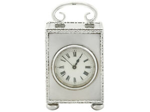 Antique Sterling Silver French Movement Boudoir Clock Birmingham 1910s