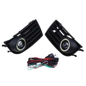 2x Fog Lights Driving Halo Angel Eyes Cover W bulb For Vw Golf Rabbit Mk5 03 09