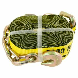 Erickson Yellow 3in X 30ft Winch Strap With Chain Hook Lead 15 000lb Capacity