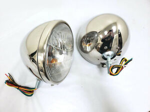 1933 1934 Ford Polished Stainless Headlights W Turn Signal 9 1 2 Chevy Dodge