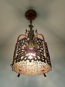 Antique 1920s Vintage Mayflower Sailing Ship Ceiling Light Fixture Chandelier