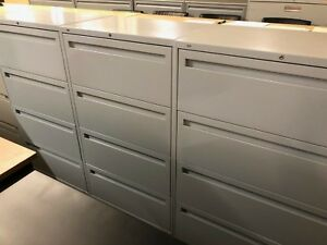 Lot Of 3 4 drawer Lateral Size File Cabinets By Hon Office Furn W lock