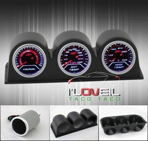 Air Fuel Gauges Exhaust Gas Temperature Water Temp 52mm 3 Pod Holders Set