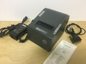 Omniprint Om9300ii Serial Point Of Sale Thermal Receipt Printer Grey W Ac Ad