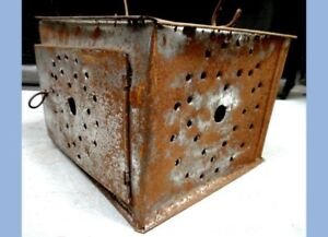 Antique Handmade Hand Punched Tin Lantern Warmer W Inside Tray