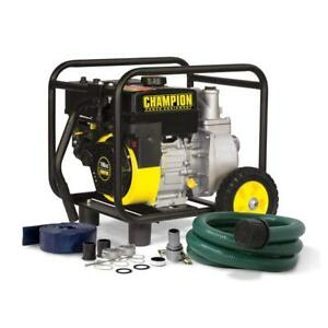 Champion 2 inch Gas powered Semi trash Water Transfer Pump With Hose And Wheel