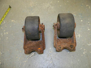 2 Antique Industrial Factory Cart Vtg Coffee Table Cast Iron Metal Wheel Casters